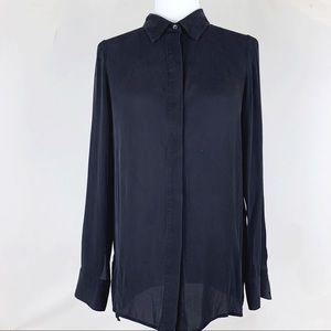 VINCE black hidden placket high-low silk blouse
